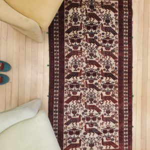 Hand-Knotted Balooch Rug with Peacock design