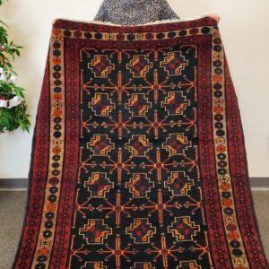 Hand-Knotted Sabzevar Vintage Rug