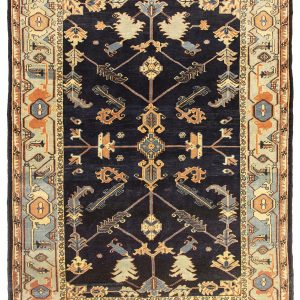 Hand-Knotted Semi Vintage Heriz Rug with Allover Pattern