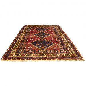 Hand-Knotted Tribal Shiraz Rug with Unique Design