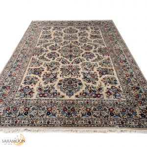 Hand-knotted Large Square Yazd Rug